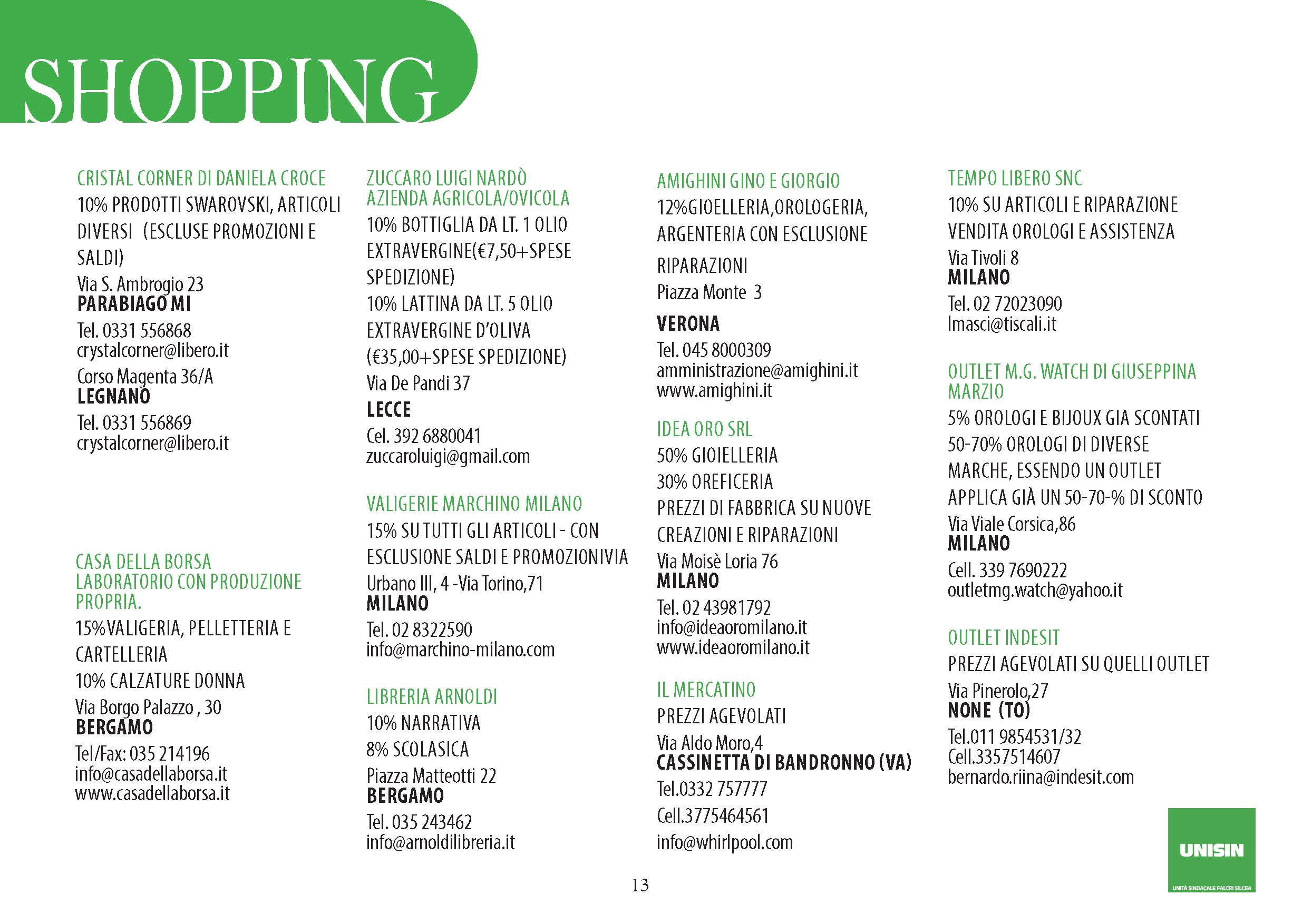 Shopping - convenzioni per gli iscritti Unisin del gruppo ...